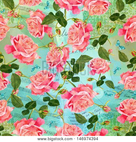 Seamless pattern with watercolor red rose, with buds and green leaves, with teal blue butterflies, in the style of vintage botanical art, on the background of old ephemera: sheet music, post card, etc