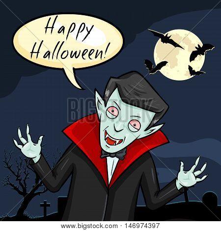 Vector Halloween Postcard. Vampire with Bubble - Happy Halloween.