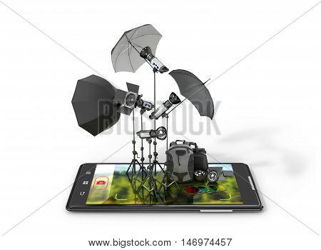 Concept photo studio photographic equipment placed on smartphone displays. 3D illustration
