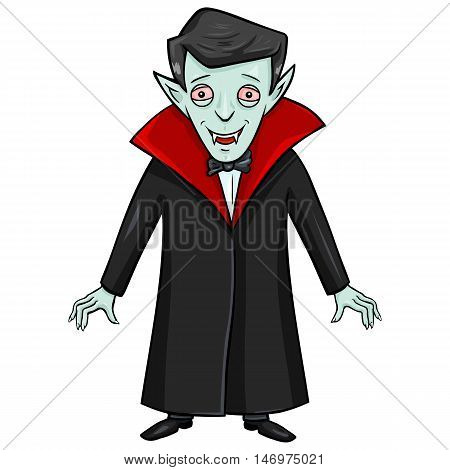 Vector Single Isolated Halloween Character - Smiling Vampire.
