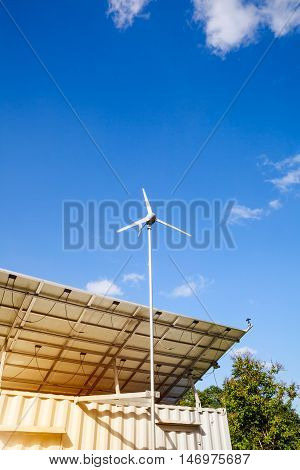 Solar Power And Wind Turbine Generator.  Green Energy Concept.  Outdoor.