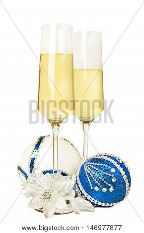 New year 2017 composition with two glasses of Champagne