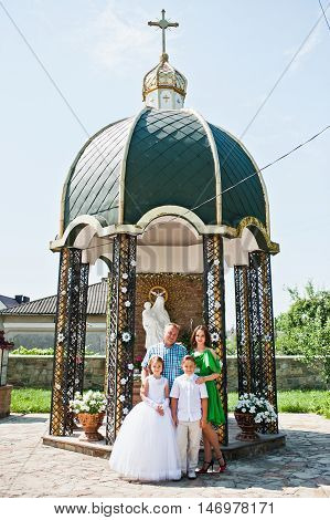 Happy Family At First Holy Communion Stay Background Church Oratory