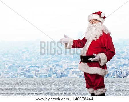 santa claus classic portrait and urban background