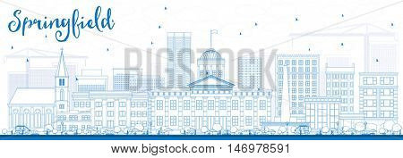 Outline Springfield Skyline with Blue Buildings. Vector Illustration. Business Travel and Tourism Concept with. Image for Presentation Banner Placard and Web Site.