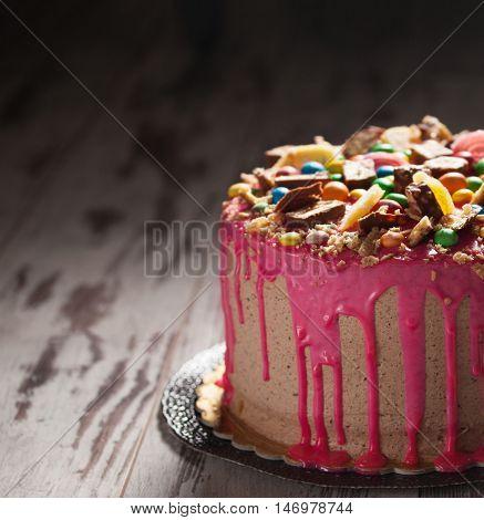 Beautiful big pink cake. Birthday cake