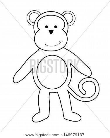 Isolated Monkey Black and White Coloring Page