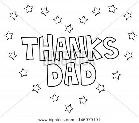 Thanks Dad Heart Black and White Coloring Page