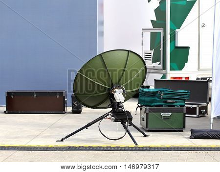 Dish antenna and packed in boxes equipment of the army radio communication set