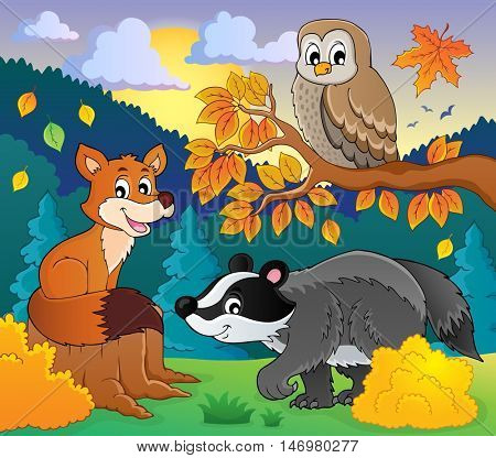 Forest wildlife theme image 2 - eps10 vector illustration.