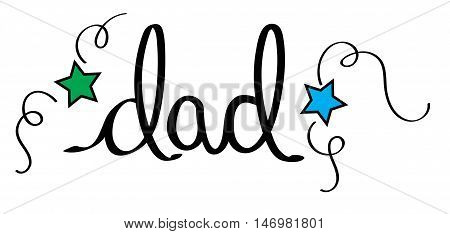 Handwritten Dad Lettering with Blue and Green Stars