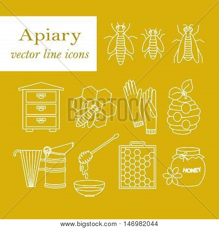 Apiary vector thin line icons set. Sweet honey, natural honeycomb, beehive, wax, honeycomb, and other apiary equipment signs.
