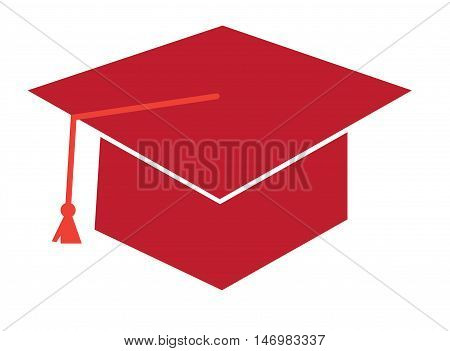 Isolated Red Graduation Cap Hat and Tassle