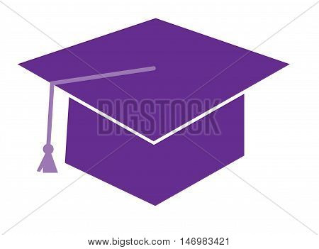 Isolated Purple Graduation Cap Hat and Tassle
