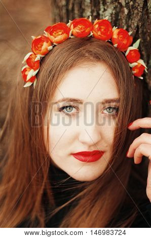 Beautiful Young Girl With Long Straight Hair, Light Make-up In A