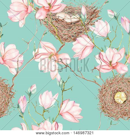 Seamless pattern of the watercolor bird nests on the tree branches with spring magnolia flowers, hand drawn on a blue background