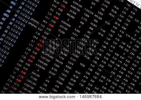Stock market tableau électronique avec un filtre bleu