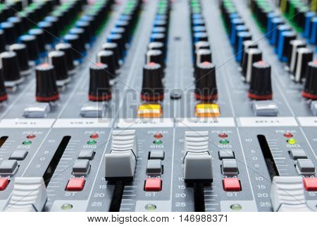buttons and fader equipment for sound mixer control