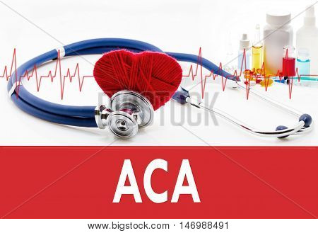 Medical concept ACA (affordable care act). Stethoscope and red heart on a white background