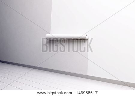 Blank white paper roll hanging on the wall mockup side view clipping path 3d rendering. Paperhanging wallpaper mock up. Home decoration tapestry scroll template. Blanket canvas in the room interior