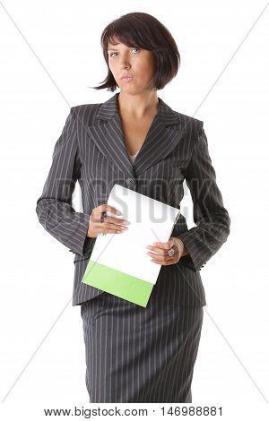 Beautiful rigorous business woman with dark hair