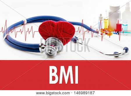 Medical concept BMI (body mass index). Stethoscope and red heart on a white background