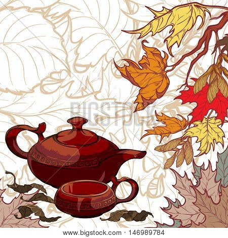 Still life composition. Ceramic teapot cup tea leaves maple branch on leaf pattern background. Seasonal card. Tea ceremony invitation template . EPS10 vector illustration.
