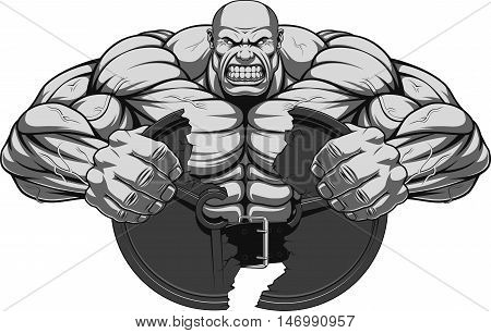 Vector illustration a fierce strong athlete breaks the iron disk for barbell