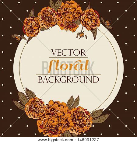 Vector floral wreath. Vintage peony background. Floral elements for design invitations greeting cards wedding cards.