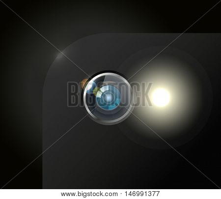 Modern smartphone camera with the flash light closeup illustration