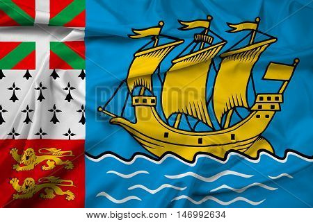 Waving Flag Of Saint Pierre And Miquelon (unofficial)