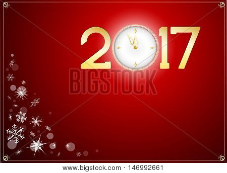 Snow and happy new year 2017 with clock abtract background