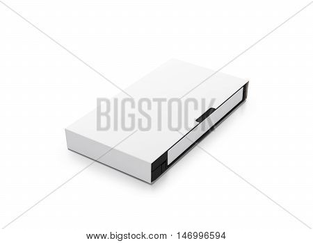 Blank white vhs video cassette tape mock up isolated, clipping path 3d rendering.