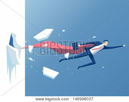 Super businessman punches the wall employee superhero flying through the wall business concept power success and overcome difficulties