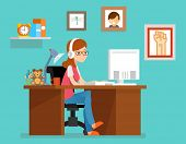 Freelance woman working at home with computer. Vector illustration in flat style. Freelance home, freelancer designer or programmer, workspace freelance poster