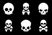 Skull and crossbones icons in cartoon style. Bone and skull, skeleton death, crossbone human, halloween or pirate, vector illustration poster