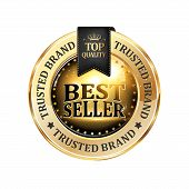 Best seller, Trusted Brand, Top quality - luxurious elegant icon / ribbon for retailers poster