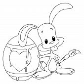 Outlined illustration of a bunny and his easter egg poster