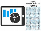 Charts on Pda glyph bicolor icon with 1000 medical business icons. Set style is flat pictograms blue and gray colors white background. poster