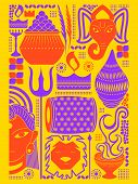 vector illustration of Happy Durga Puja festival background kitsch art India poster