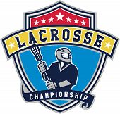 Illustration of a lacrosse player holding a crosse or lacrosse stick looking to the side viewed from front set inside shield crest with ribbon with the words text Lacrosse Championship. poster