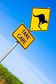 Closeup of kangaroo road warning sign against a blue sky poster