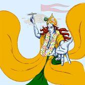 Lord Krishna Indian God Janmashtami festival holiday. Vector illustration poster