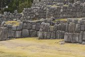 Stonework of the walls of Sacsayhuaman in Cusco Peru poster