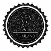 Thailand Map Label with Retro Vintage Styled Design. Hipster Grungy Thailand Map Insignia Vector Illustration. Country round sticker. poster