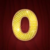 Gold light lamp bulb font number 0 Zero, null. Sparkling glitter design in style of vegas casino, cabaret and broadway show decoration. Shining numbers symbols of alphabet set for light board poster