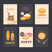 Collection of vector cards shop bakery with bread, flour, loaf and donut. Set of templates for business cards, cafe menu, banners, covers, coupons, labels, tag and packaging. Illustration of pastries. poster