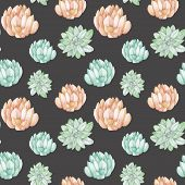 Seamless pattern with the watercolor tender mint and pink succulents, hand drawn on a dark background poster