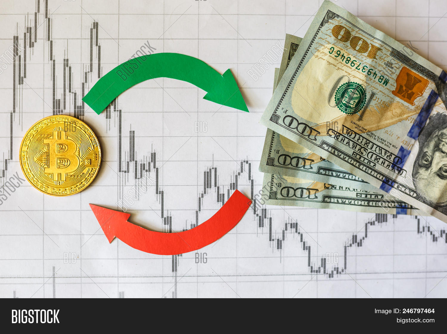 Exchange Of Virtual Money Bitcoin On Dollar Bills Red Green Arrows And Golden Ladder