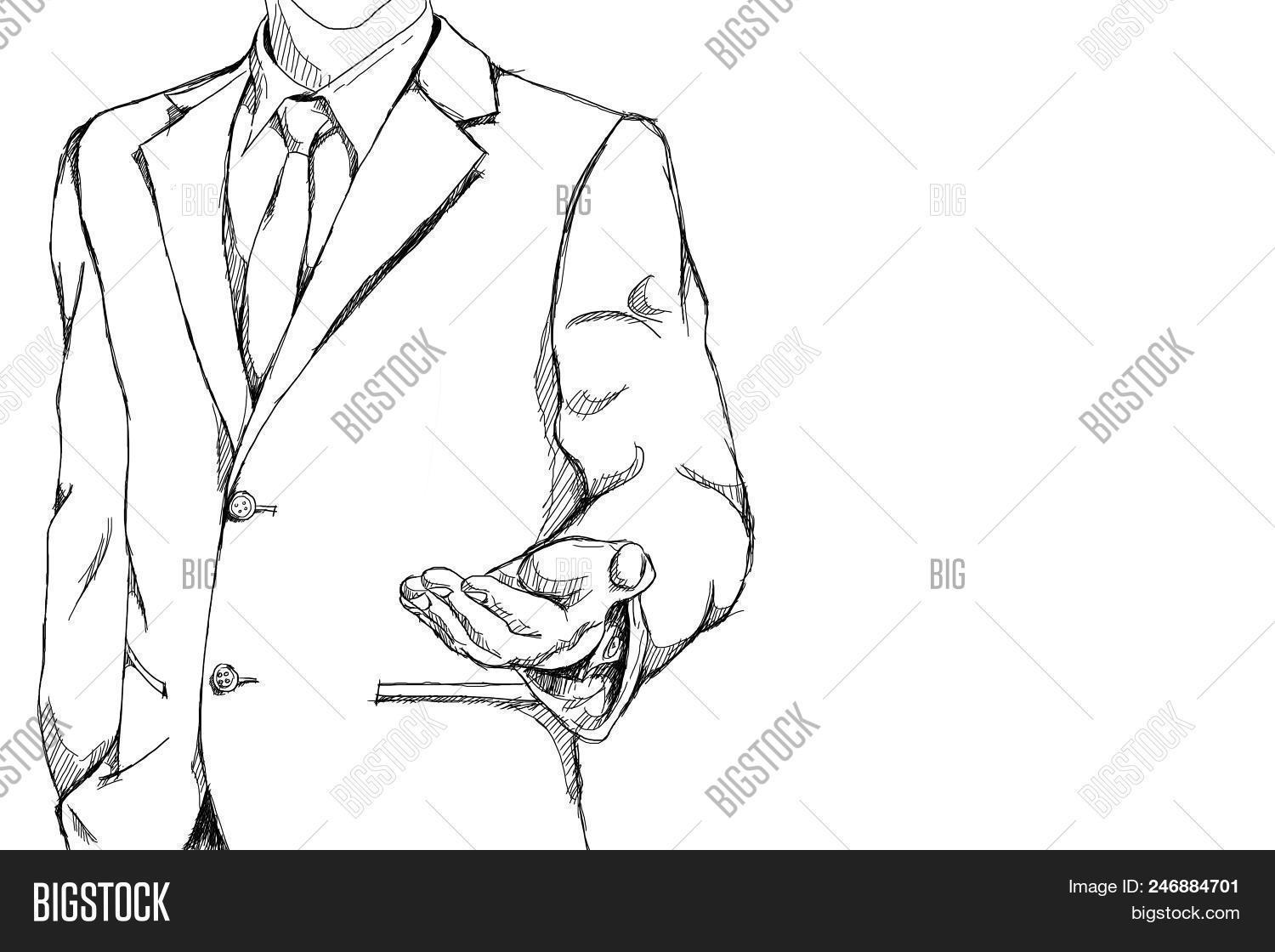Drawing sketch simple image photo free trial bigstock drawing sketch simple line of business man with open palm hand action for invite meaning on stopboris Images